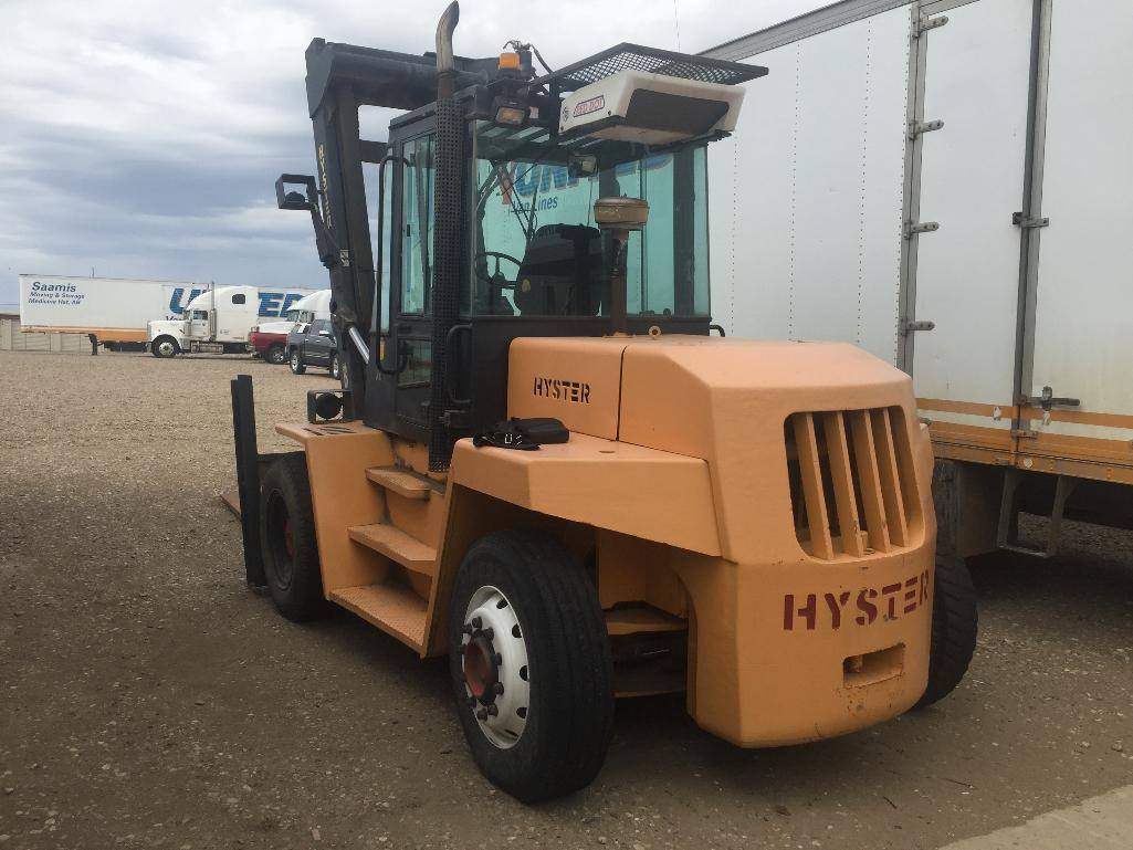 Lot 122 - 1993 HYSTER H190XL FORKLIFT, 3 STAGE MAST, DIESEL, CAB ENCLOSURE, DUAL PNEUMATIC TIRES, 19,000LBS VI
