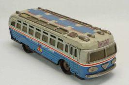 """Metaloglobus Touristenbus mit Aufzugsantrieb, um 1970Blech lithografiert, Bus bezeichnet mit: """"ONT"""