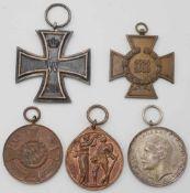 Fünf Orden 1. WeltkriegEK 2 1914, Dienstauszeichnung Bayern, Teilnehmerkreuz, Verdienstmedaille