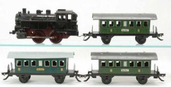 Zeuke Bahnen Lok T-48 mit drei Personenwagen, Spur 0, 2. Hälfte 20. Jh.Blech lithografiert, Lok