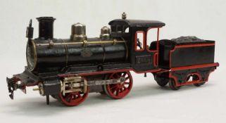 Märklin Dampflok B 1031, Spur I, um 1900Blech lithografiert, Uhrwerk intakt, Vor- und Rückwärtsgang,