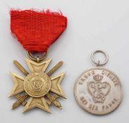 Sachsen Weimar goldenes Verdienstkreuz mit Schwertern und Dienstauszeichnung 3. Klasse1) Sachsen