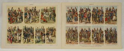 Sieben militärhistorische FarbtafelnFarblithografie/Papier, um 1900, Artillerie, Marine-, Schutz-