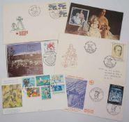104 ErsttagsbriefeFDC-Briefe aus aller Welt, unter anderem Olympische Spiele Moskau 1980, UNO-
