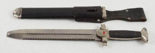 Rot Kreuz Hauersog. III. Reich, Klinge ohne Hersteller mit Sägerücken, Zink Parierstange,