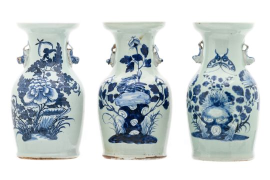 Three Chinese Celadon Ground Blue And White Decorated Vases With
