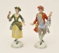 Paar Jägerfiguren Entwurf Hugo Meisel (1887 - 1966) für Rosenthal, polychrome Bemalung,
