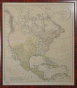 """Karte von Nordamerika C.G. Reichard, Weimar 1802, Kupferstich mit Colorierung, Titel """"Charte von"""