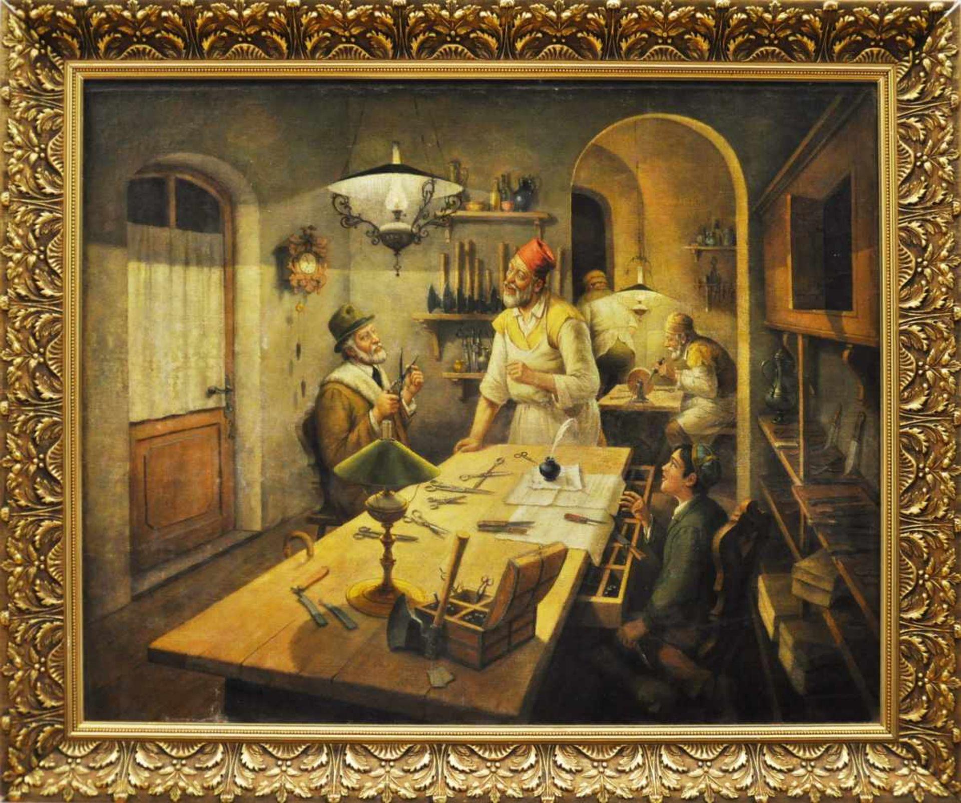 """Los 23 - Ungarischer Maler, um 1920,""""Beim jüdischen Schärenschleifer"""", Öl auf Lw, 69,5 x 85,5 cm, unsigniert"""