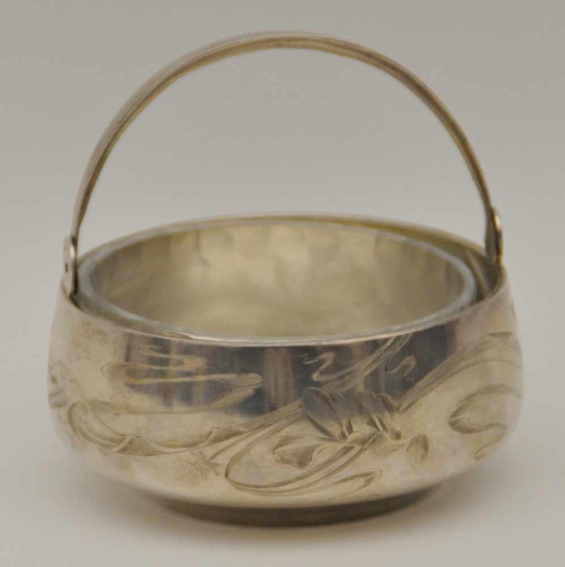 Los 57 - Konfektschale, Russland 20. Jh.Schale mit Kristalleinsatz, 84 Silber, Gewicht 167 g, mit