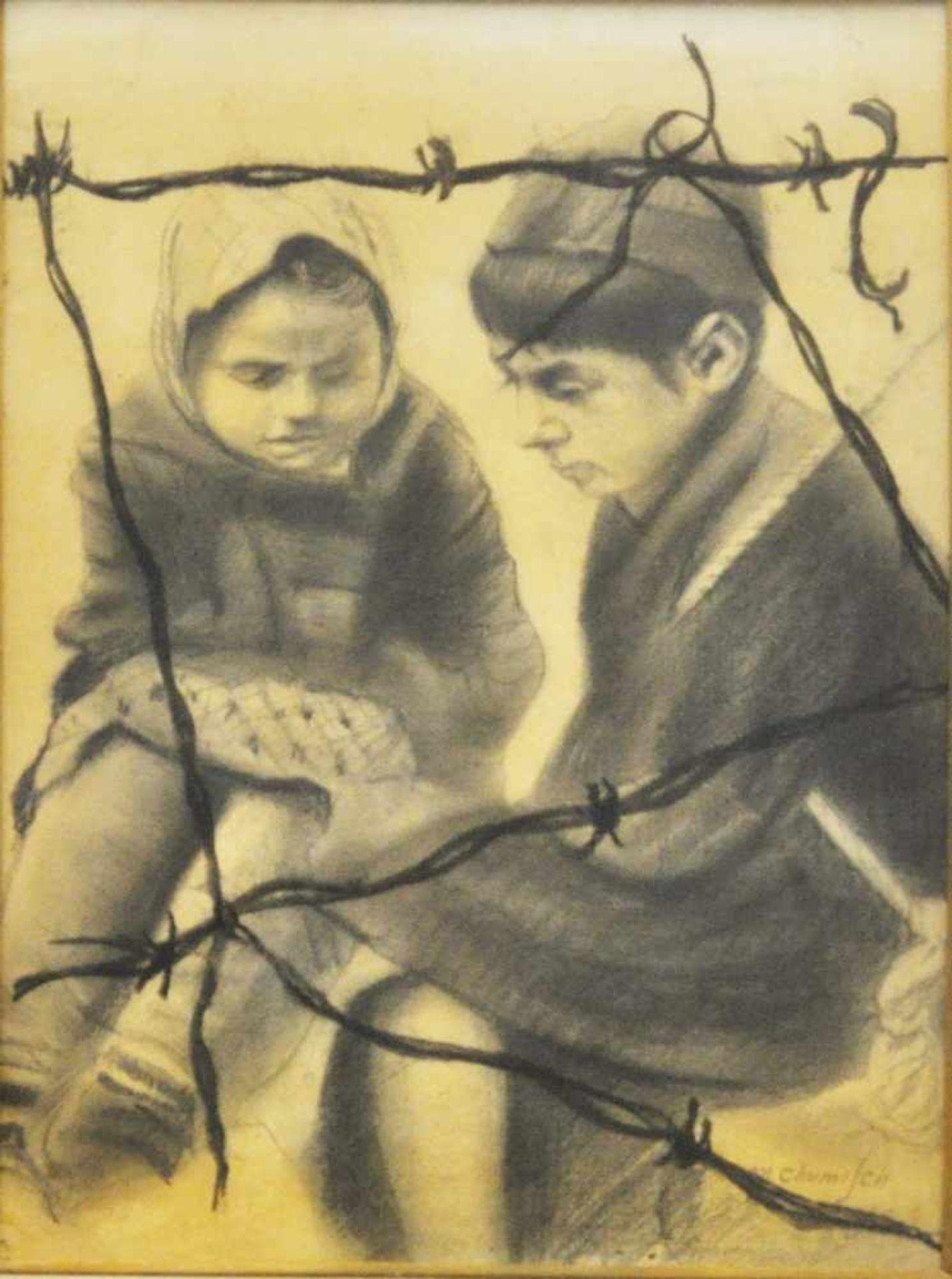 """Chumisch, M., um 1940""""Kinder unter Stacheldraht"""", Kreidezeichnung, 44 x 31 cm, rechts unten"""