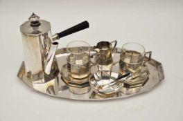 Mokkaservice, Deutsch um 19307 teiliges Mokkaservice,Silber 800, Brutto-Gew. 590 g