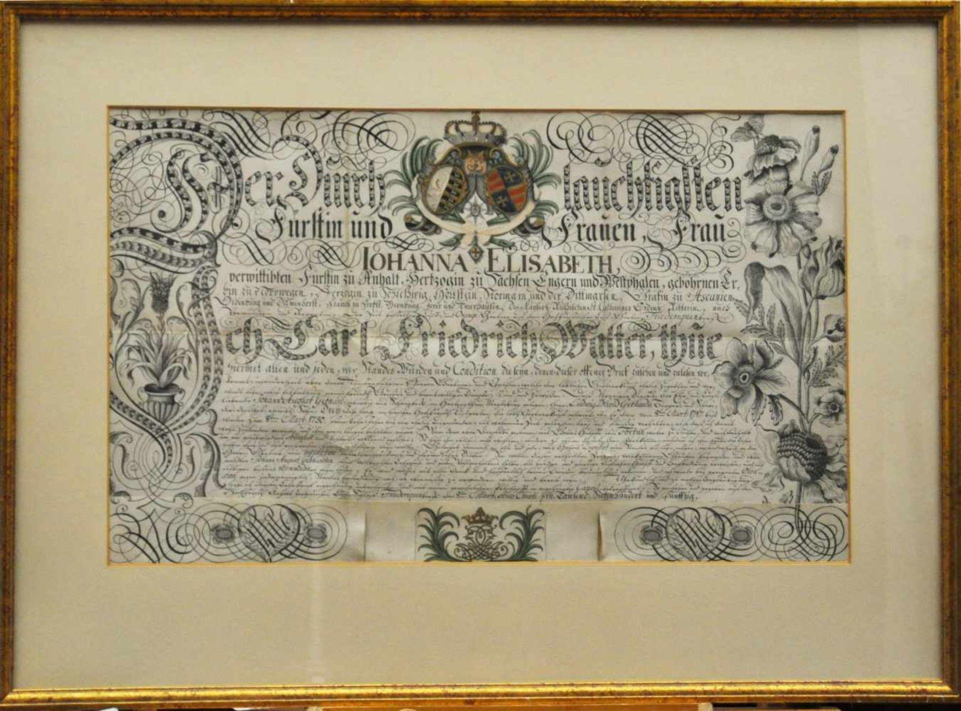 Adelsbrief von 1750,Ernennungsurkunde von Fürstin zu Anhalt für Herrn Ludwig David Gebhards,