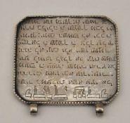 Gebetstafel, 18./19. Jh.Beschriftet mit 'Shir lemaalot',Silber, Gewicht 46 g, 7,5 x 7,5 cm