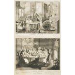 """Picart, Bernhard (1673 - 1733)""""Vorbereitung zu Pessach"""", Kupferstich, 35 x 21 cm, in der Platte"""
