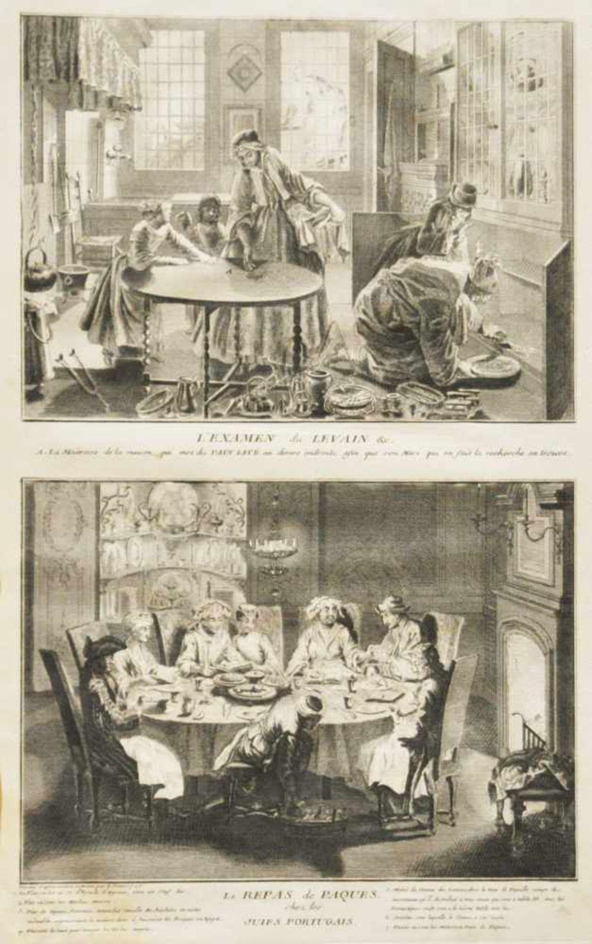 """Los 37 - Picart, Bernhard (1673 - 1733)""""Vorbereitung zu Pessach"""", Kupferstich, 35 x 21 cm, in der Platte"""