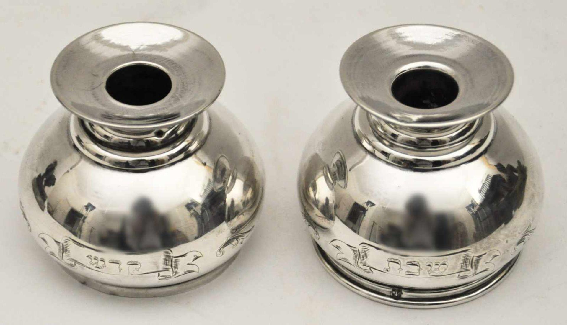 Shabatleuchter 19 Jh.Reiseleuchter, Silber punziert, Gewicht 130 g, graviert 'Sabat-Kodesch'