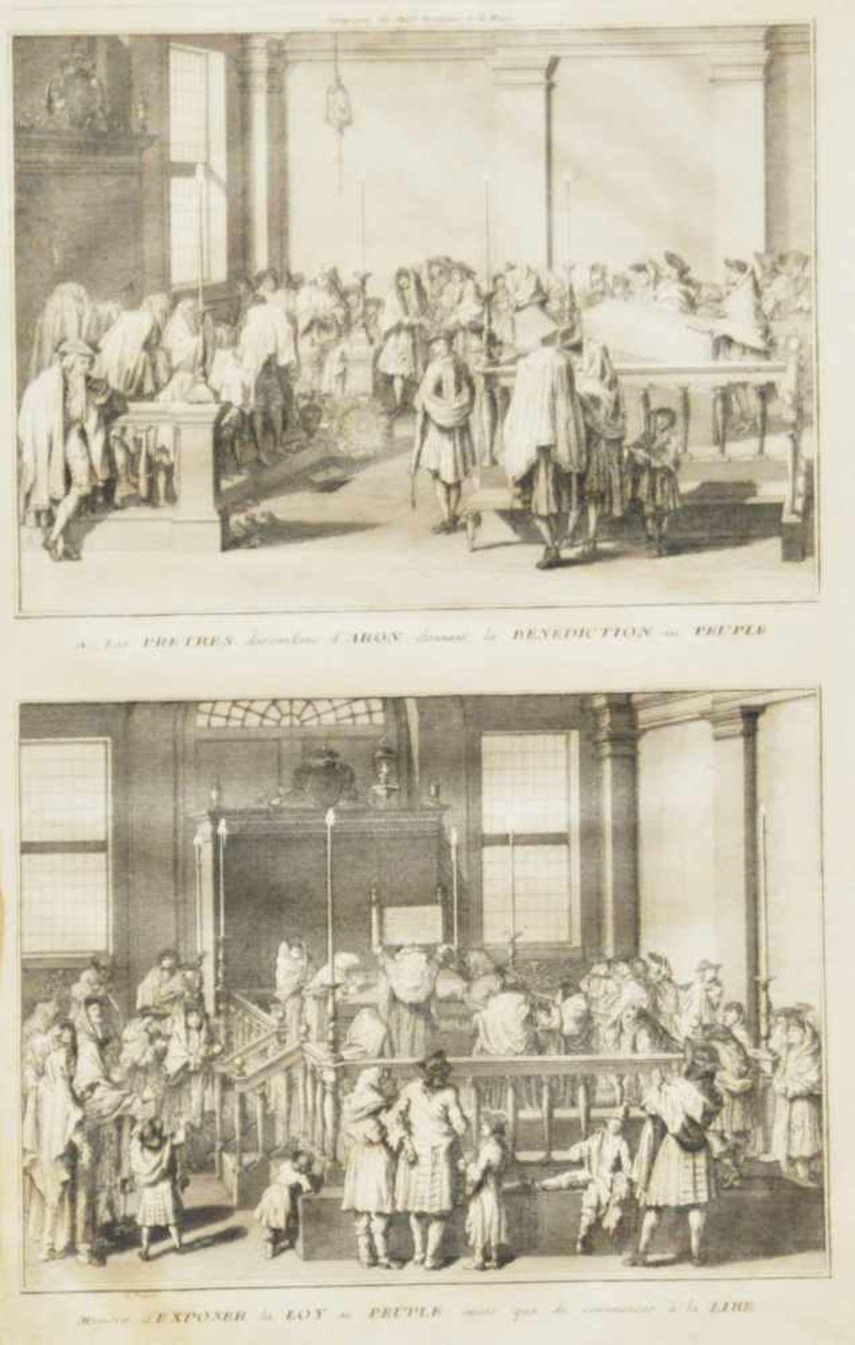 """Los 39 - Picart, Bernhard (1673 - 1733)""""Das Gebet der Kohanim"""", Kupferstich, 35 x 21 cm in der Platte"""
