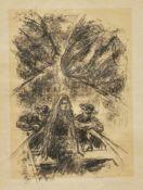 """Liebermann, Max (1847 – 1933)""""Der Rabbbi von Bachrach"""", 1922, 2 Blatt aus dem Buch von H. Heine,"""