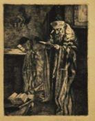 """Radierung, 1920""""Der Jude beim Tora Studium"""", Radierung, 13,5 x 19,5 cm, rechts unten unleserlich"""