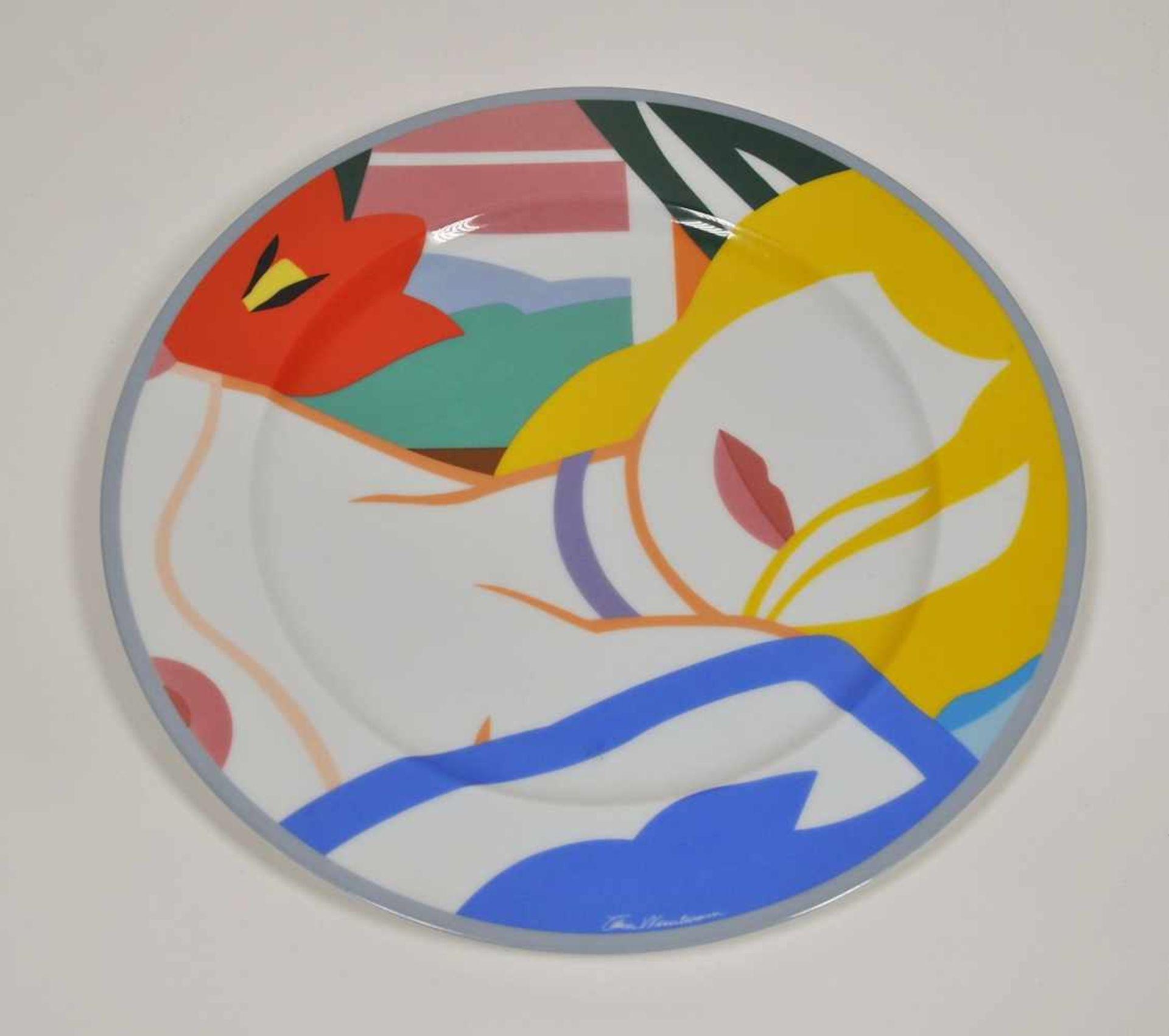 """Los 13 - Künstlerteller für Rosenthal, 1990,Tom Wesselmann (1931-2004), """"Blonde Vivien"""", Entwurf 1988, Dm"""