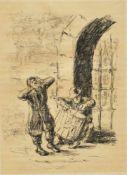 """Liebermann, Max (1847 - 1935)Aus """"Rabbi von Bachrach"""", Lithografie, Buch H. Heine 1922,"""
