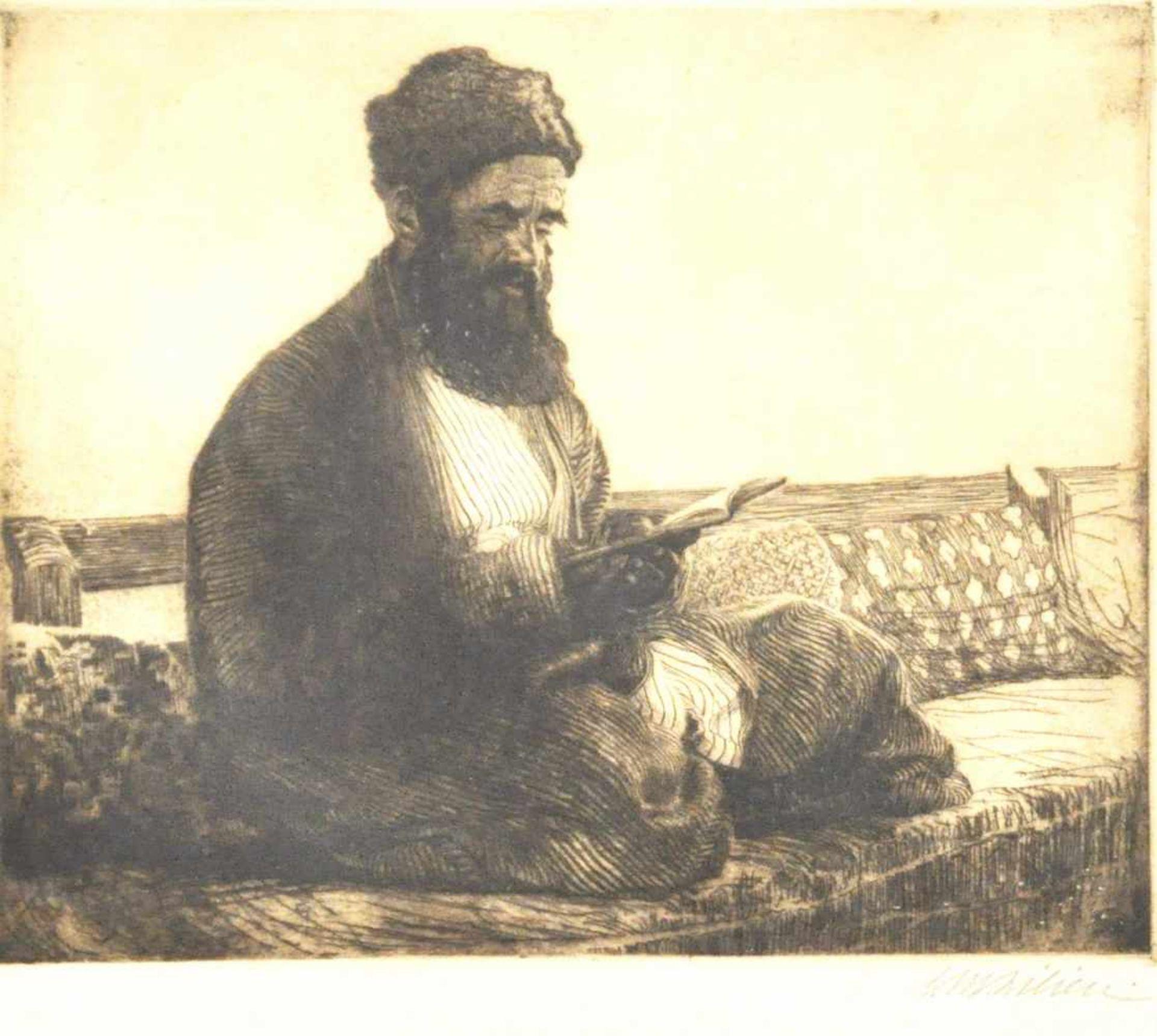 "Lilien, Moshe E. (1874 - 1925)""Jüdischer Bucharer beim Lesen"", Radierung, 26,5 x 32 cm, rechts unten"