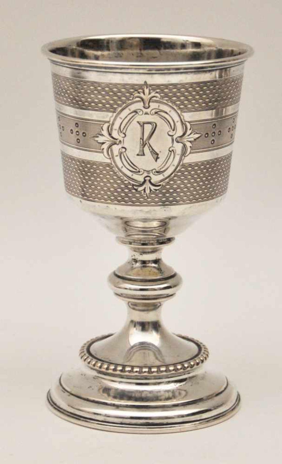 Kidduschbecher, Deutsch 19. Jh.Ziseliert graviert, Silberbecher 750 fein, Gewicht 95 g, Höhe 13 cm