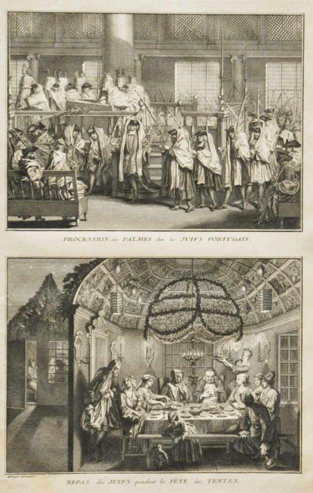 """Los 40 - Picart, Bernhard (1673 - 1733)""""Prozession mit dem Lulaf"""", Kupferstich, 35 x 21 cm,in der Platte"""