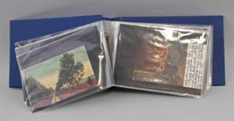 Album Gemälde- und Künstlerkartenca. 66 Stück, Gemälde- und Künstlerkarten, um 1920, teilweise