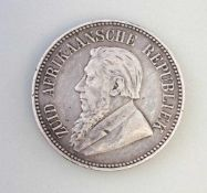 Silber-Münze 2 1/2 Shillings 1896 Kruger Süd-Afrika925er Silber, ca. 14 g, Zustand ss
