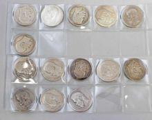 14 x 1 Rubel Zar Nikolaus Nikolai II 1895-1915900er Silber, je 20 g, dabei Apollon Grasgof (5 x