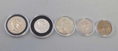 5 Silber-Münzen Deutsches Reich Preussen 1900-1914dabei 3 x 2 Mark 1900, 2 x 1913 und 2 x 3 Mark