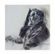 Max Slevogt (1868 Landshut - 1932 Neukastel) Selbstporträt, Kohle auf Papier, 38,5 cm x 38,5 cm