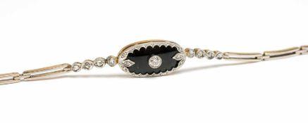 Damenarmband 585 Gelb- und Weißgold, besetzt mit 14 Diamantrosen und einem Altschliff-Diamanten,