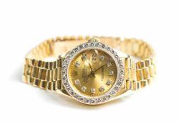 Rolex Damenarmbanduhr, Oyster Perpetual Lady Date-Just mit President-Armband, 1980er Jahre,