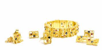 Schmuckset mit Brillant-, Rubin- und Saphirbesatz 6-tlg., 750 Gelbgold, Kette mit Anhänger, Paar