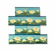 Set Jugendstil-Fliesen 10-tlg., wohl SA Manufactures Ceramiques d'Hemixem, Giliot & Cie, Hemiksem,