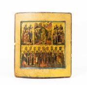 Vierfelder-Ikone mit Christi Höllenfahrt Russland, 19. Jh., Eitempera auf Kreidegrund auf Holz, 31
