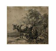 Paulus Potter (1625 Enkhuizen - 1654 Amsterdam) Kuhhirte mit Herde, Kaltnadelradierung auf Papier,