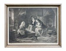 C. Becker (19. Jh.) 3 Damen beim Kartenspielen, Kupferstich auf Papier, 1851, 39 cm x 52 cm
