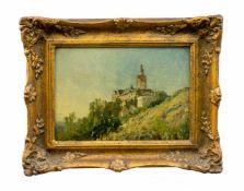 Carl Irmer (1834 Babitz - 1900 Düsseldorf) Landschaft mit Burgansicht, Öl auf Leinwand auf Platte