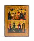 Dreifelder-Ikone Nord-Russland, 1850 - 1890, Eitempera auf Kreidegrund auf Holz, Darstellungen von
