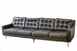 Sofa & 2 Sessel im Stil Walter Knoll Eisengestell und schwarzes Leder, jeweils mit Sitz- und