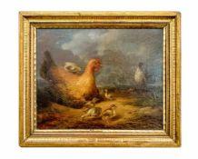 Jacques Philippe Renout (1804 Nizza - 1861 Louviers) Henne, Hahn und Küken in Landschaft, Öl auf