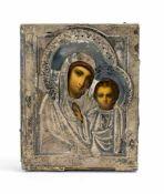 Kleine Silberokladikone 'Gottesmutter von Kasan' Russland, 19. Jh., ziseliertes Silberoklad,