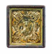 Religiöses Andachtsbild Ende 19. Jh., Abbildungen von Jesus und Maria im verglastem Holzschaukasten,