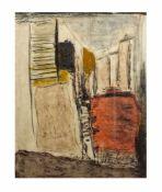 Marianne Gehrckens (20. Jh., Deutschland) Abstrakte Komposition, Erdfarben auf Papier, 61,5 cm x