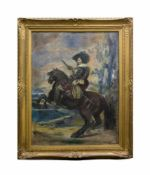 Unbekannter Künstler (19. Jh.) Ritter zu Pferd, Öl auf Leinwand, 120,5 cm x 91 cm, unsigniert, am