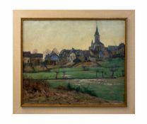 Alfred Rasenberger (1885 Düsseldorf - 1949 ebenda) Dorflandschadt, Öl auf Leinwand, 50 cm x 60 cm,